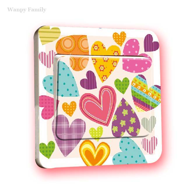 3Pcs/Lot Colorful Loving heart Switch Panel Stickers,Heart-shaped graffiti switch stickers For kids room fashion decor
