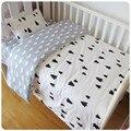 Envío libre algodón llegó ins cuna sábanas 3 unids baby bedding set incluye funda de almohada + hoja de cama funda nórdica sin relleno