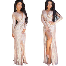 Vestidos De Lentejuela Elegant Women Deep V Neck Draped Front Split Maxi Party Dresses Long Sleeve Gold Sequin Zipper Long Dress