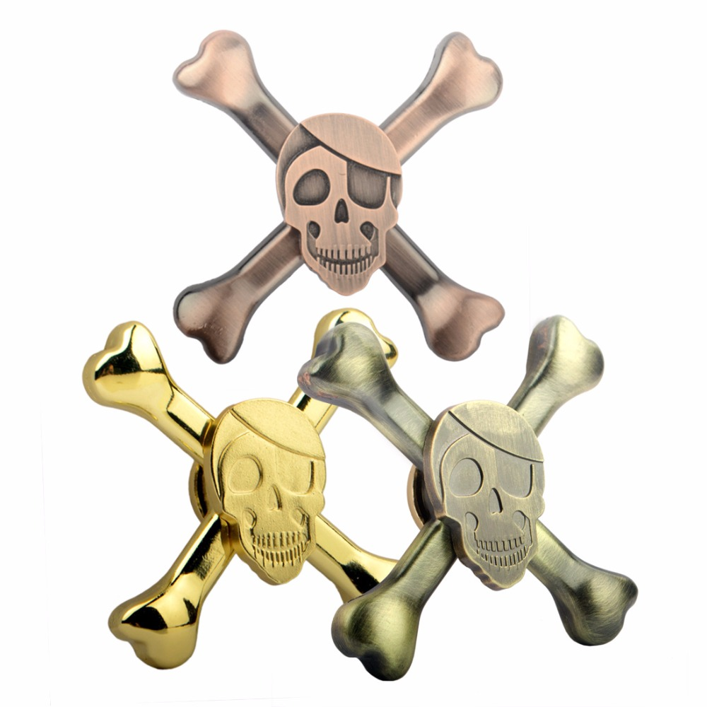 New 2017 Skull Head Hand Fidget Spinner Metal Skeleton Finger Spinner Bronze Copper Gold Can Choose