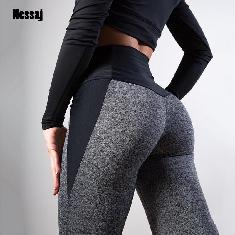 Nessaj Women Fashion Sexy Hips Lifting Pants Black Gray Patchwork Fitness Leggings Female Workout Trousers Spring Slim Leggings