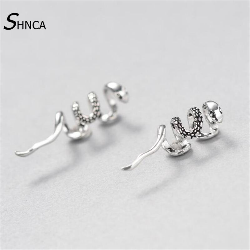 Creative Ear Clip New 100% 925 Sterling Silver Winding Snake Serpentine Earrings For Men Women Earings Fashion Jewelry Gift E184