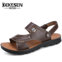 DEKESEN Hot Sale 2018 Summer Genuine Leather Sandals Brand Quality Cheap Beach Men Sandals Slippers Men