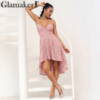 Glamaker Vintage asymmetric white lace dress Women pink strap party dress robe Femme backless chic autumn dress vestido de festa