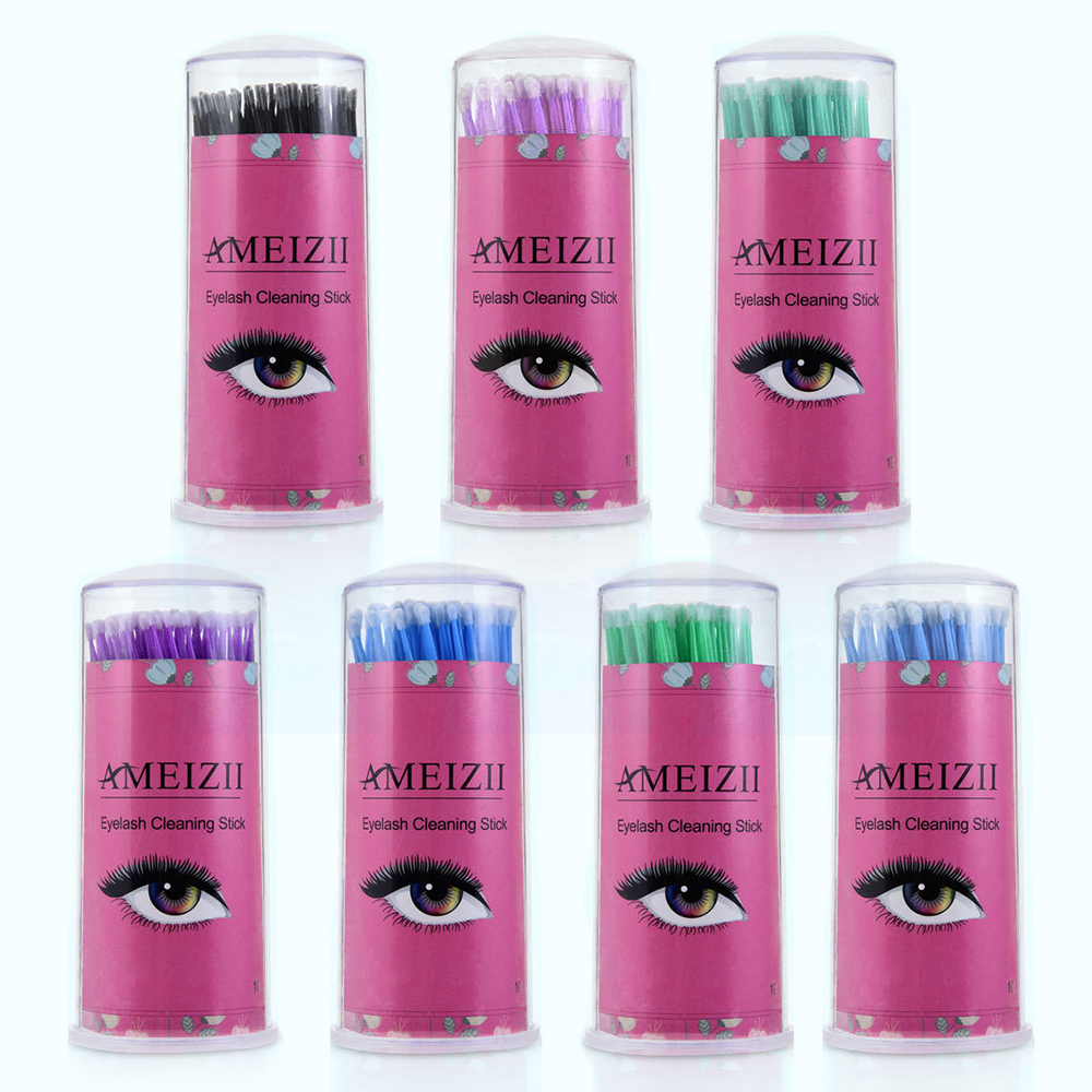 100Pcs L/M/S Durable Micro Individual Eyelash Grafting Extension Kit Lash Cleaning Removing Stick Makeup Cotton Swab With Box