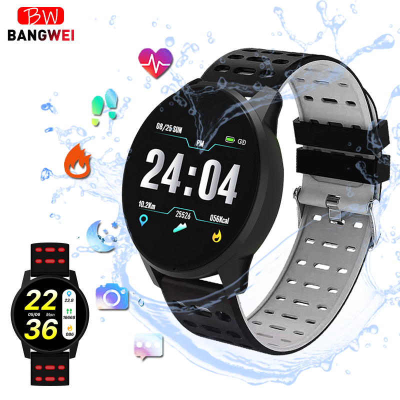 BANGWEI Smart health watch Blood Pressure Heart Rate Sport Mode Watch Men Women fitness Pedometer Bluetooth