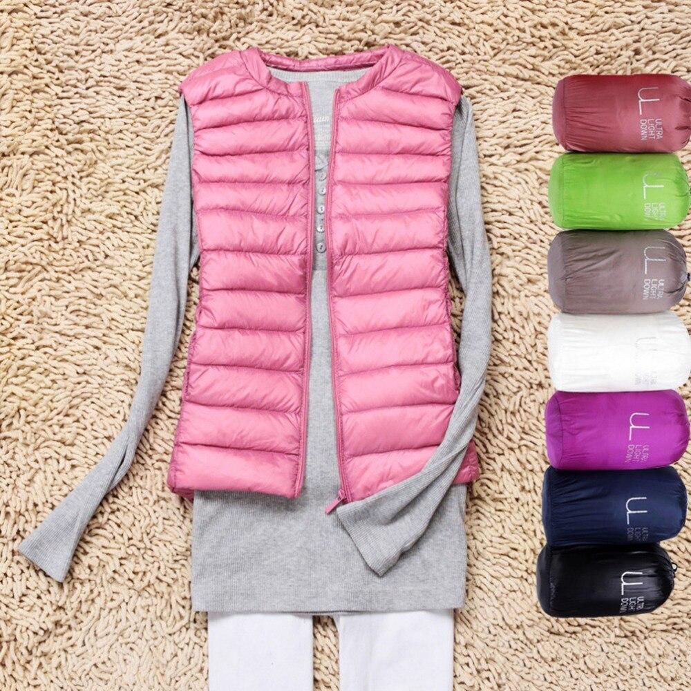 Winter Ultra Light White Duck   Down   Vest Women Sleeveless Jacket   Down     Coats   Female Slim Vest Women's Windproof Warm Waistcoat