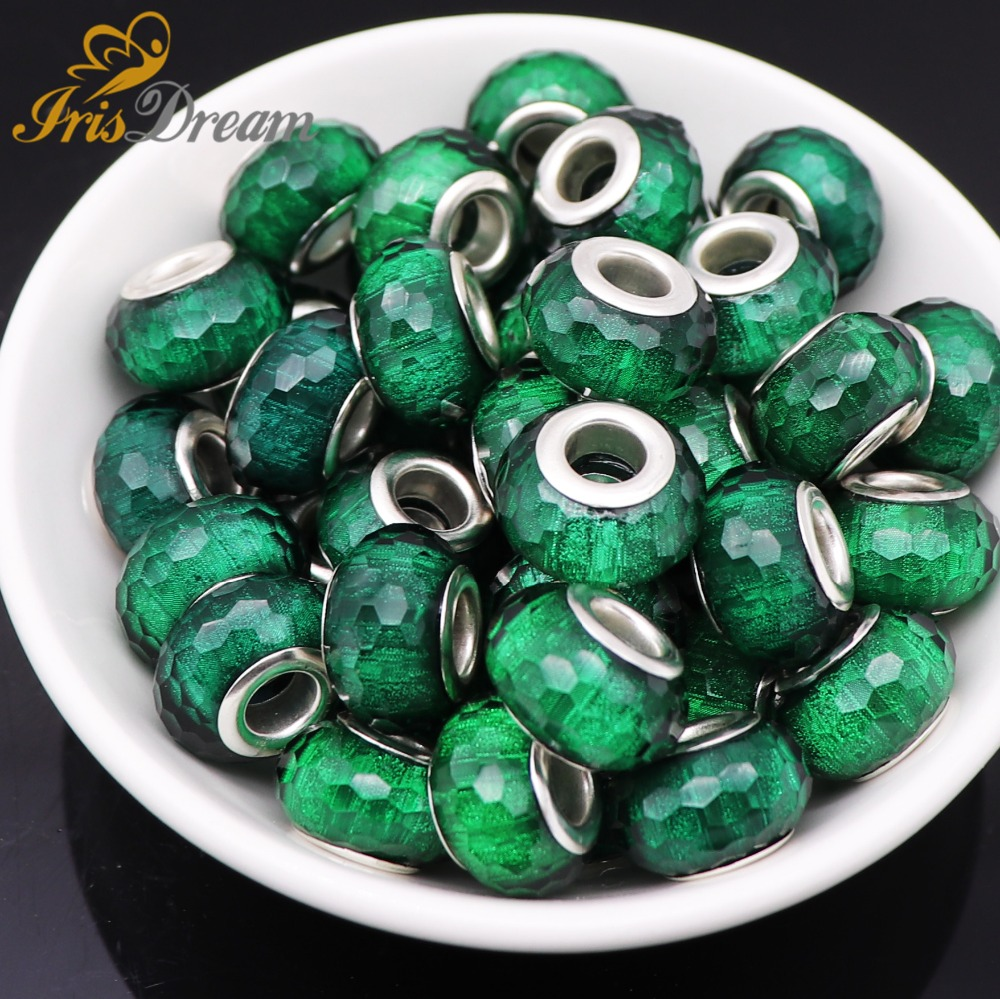 10Pcs New Faceted Rondelle Beads for Jewelry Making Big Hole European Beads fit Pandora Bracelet Spacer Charm DIY Chain Necklace in Beads from Jewelry Accessories