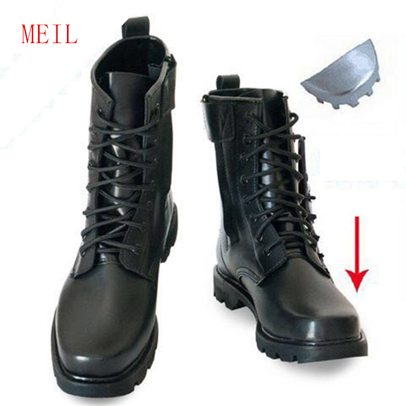 Steel Toe Microfiber Leather Men Military Boots Men's Motorcycle Riding Hunting Walking Shoes Designer Desert Botas Hombre Black