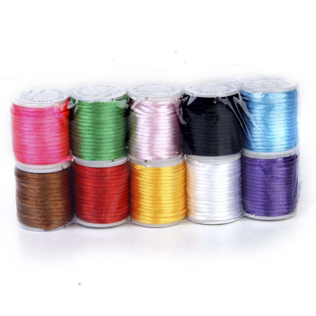10 Rolls Mixed Color Nylon Beading Thread String 2mm for DIY Jewellery Making