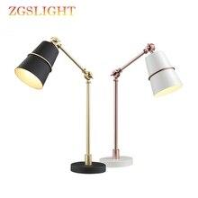 Lámpara de mesa Led de estilo moderno lámpara de oficina sombra blanca/negra mesa de hierro cuellos de cisne de metal flexibles lámpara de noche vintage