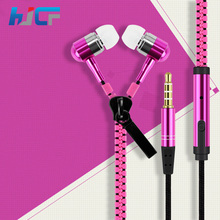New Popular In-Ear Metal Bass Zipper Earphones Sports Music Wired Earbud Headphones with Microphone for Xiaomi Iphone Mp3