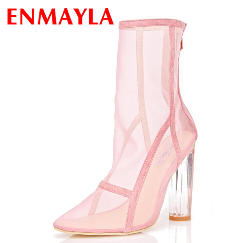 ENMAYER Transparent Style Shoes Woman Mid-calf Boots for Women High Heels Pointed Toe Mesh Short Boots Zipper Shoes Womens double buckle cross straps mid calf boots