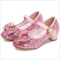 Dance Girls Shoes Cute Dream Cartoon Princess Shoes Sequins Pink Children S High Heels Leather Soles