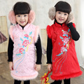 2015 новых осень и зима классическая чонсам для детей, Девушки костюм платье дети густой хлопок платье