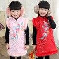 2015 nuevo otoño y el invierno Cheongsam clásico para los niños, niñas niños del vestido del traje grueso de algodón sin mangas del chaleco del vestido