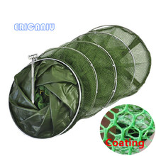 1.5M 2.0M 2.5M Length Diameter 25cm Folding Fishing Net Stake Hand Net Fishing Tackle Fish Care Creel Fishing Tackle 696