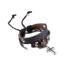 Pulseira 2017 New Brand Lady Charm Bracelet Wristband Cuff Antique Cross Pendant Leather Bracelet Good Wood Beaded Jewelry