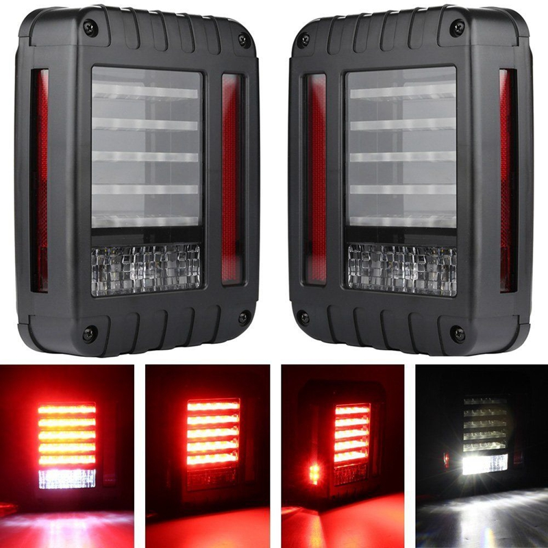 LED Tail Lights for 2007-2015 Jeep Wrangler JK CJ Tail Light Brake Reverse Turn Singal Lamp Back Up Rear Parking Stop Light for jeep wrangler jk 2007 2016 tail light diamond smoke led tail light