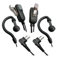 Walkie talkie fone de ouvido para motorola rádio em dois sentidos fone de ouvido com ptt microfone g forma gancho 2 pinos alta qualidade 2 pçs