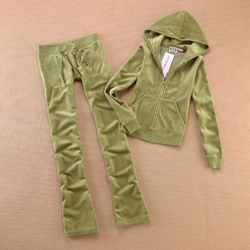 Spring / Fall 2019 Women'S Brand Velvet Fabric Tracksuits Velour Suit Women Track Suit Hoodies And Pants Size XS - XL