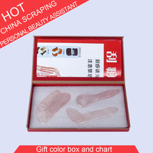 100% Natural pink crystal massage plate body face Massager Guasha scrape guasha acupoint 0015