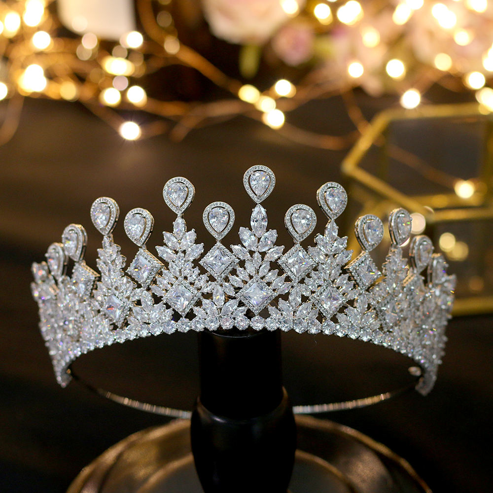 ASNORA  big Wedding Brides Crown Elegant Zincons Hair Silver Tiaras Bridal Jewelry Crown Accessories ASNORA  big Wedding Brides Crown Elegant Zincons Hair Silver Tiaras Bridal Jewelry Crown Accessories