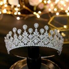 ASNORA كبير زفاف العروس تاج أنيق زينونات الشعر التيجان مجوهرات الزفاف تاج اكسسوارات
