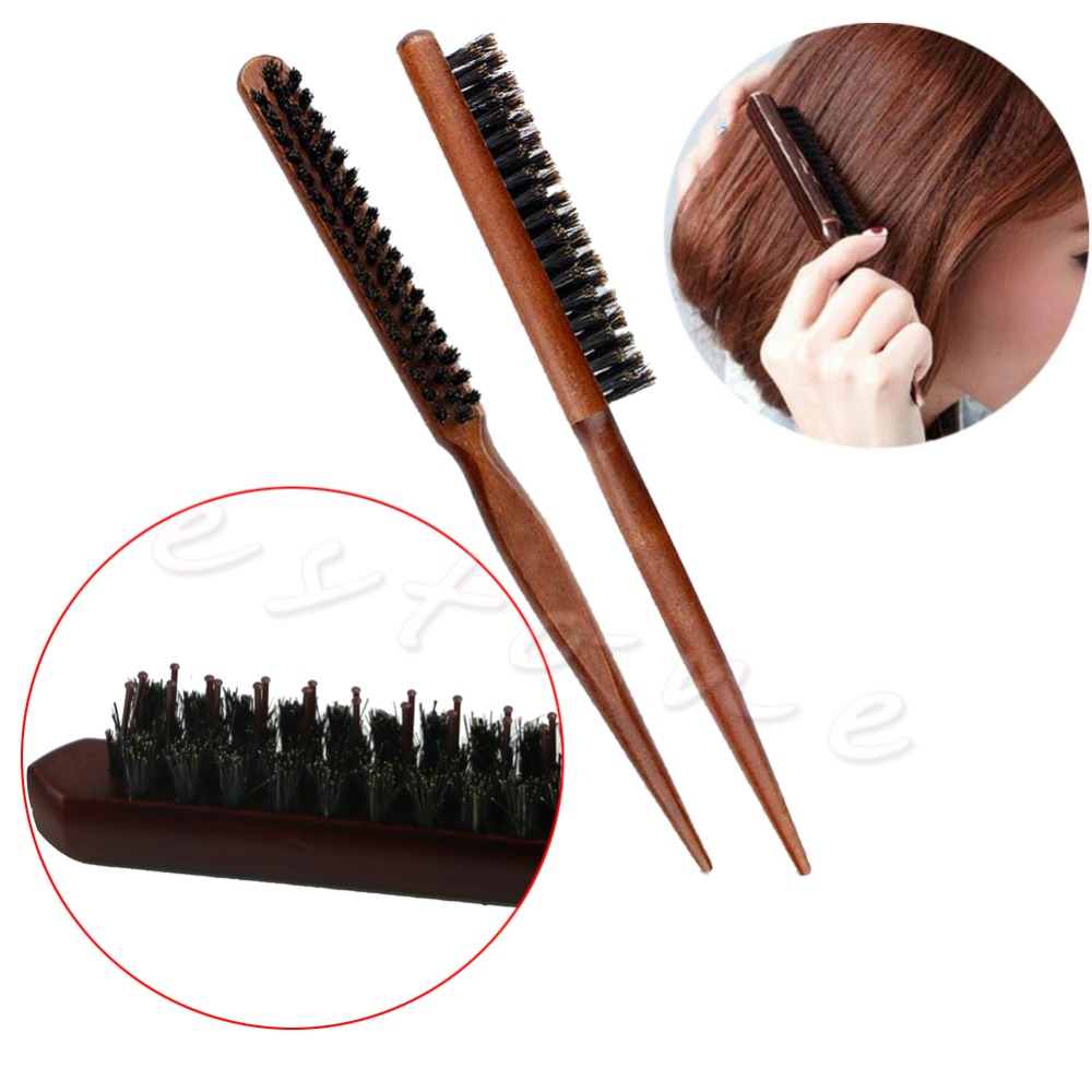 Купить с кэшбэком High Quality Wood Handle Natural Boar Bristle Hair Brush Fluffy Comb Hairdressing Barber Tool D14631