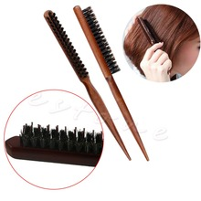 High Quality Wood Handle Natural Boar Bristle Hair Brush Fluffy Comb Hairdressing Barber Tool D14631 judy boutique natural hairdressing comb double engraved green