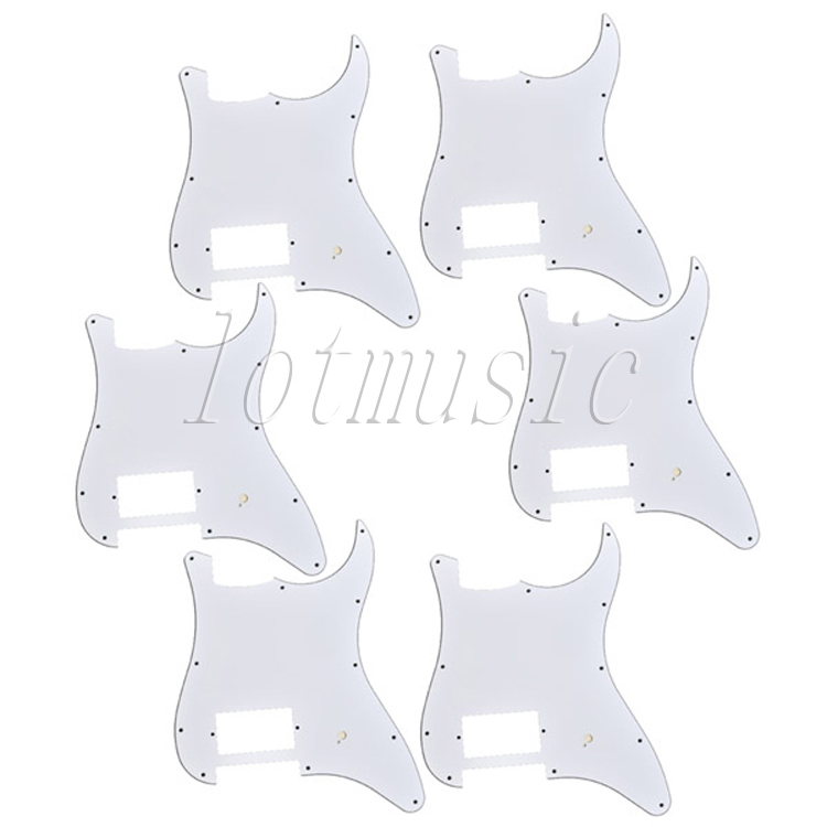 6Pcs White Pickguard One Humbucker for Electric Strat ST Scratch Plate Replacement loaded pickguard assembly sss single coil pickup for fender strat replacement