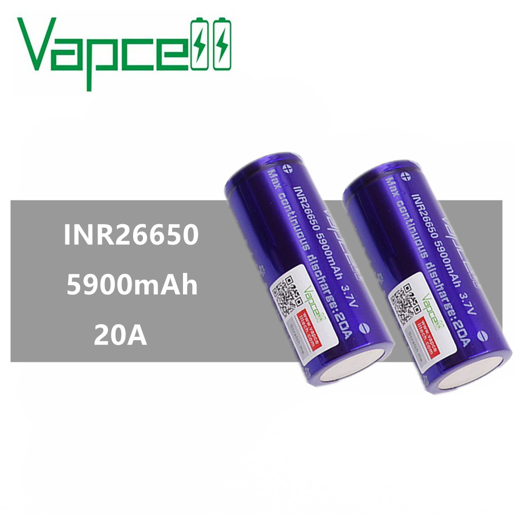 2pcs VAPCELL INR26650 5900mAh 20A Rechargeable battery INR 26650 battery large capacity vape cell E-CIG IMR BATTERY vs Keeppower