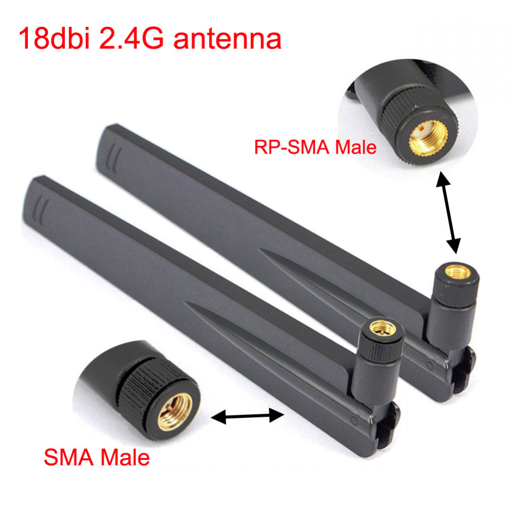 2pcs 18 Dbi 2.4Ghz WIFI Antenna RP SMA Male Universal Antennas Amplifier WLAN Router Antenne Connector Booster