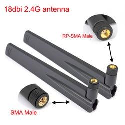 2pcs 18 dbi 2.4Ghz WIFI Antenna RP SMA Male Universal Antennas Amplifier WLAN Router Antenne Connector Booster