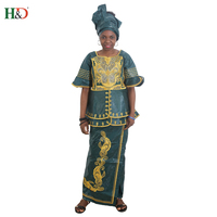 H&D dashiki african dresses for women robe africaine top quality embroidery bazin dress african clothes africa lady skirt