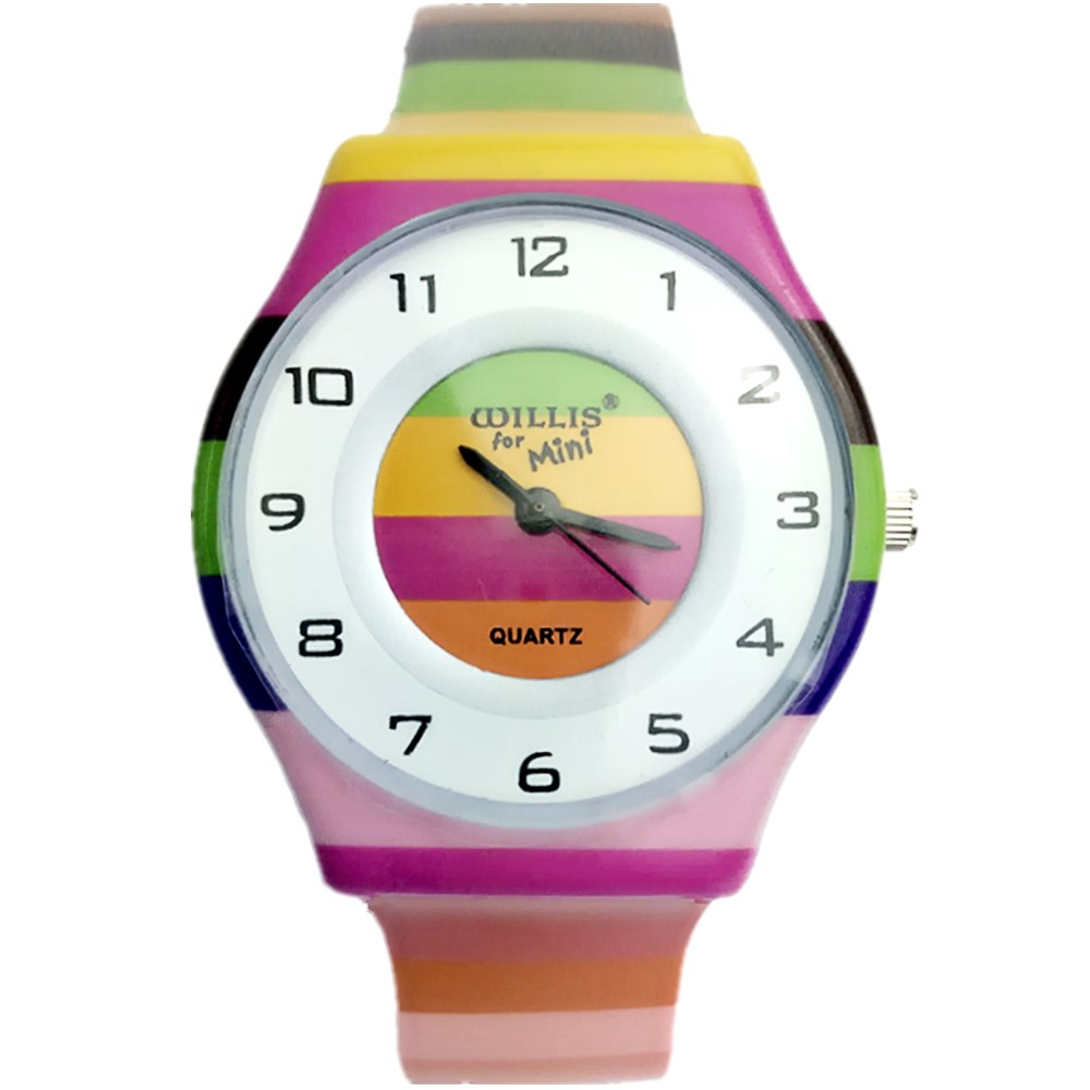 NATATE Willis Women Wristwatches Fashionable The Rainbow Pattern Design Water Resistant Analog Silicone Band Wrist Watch 1150 fashionable water resistant glow in dark wrist watch black white 1 x lr626