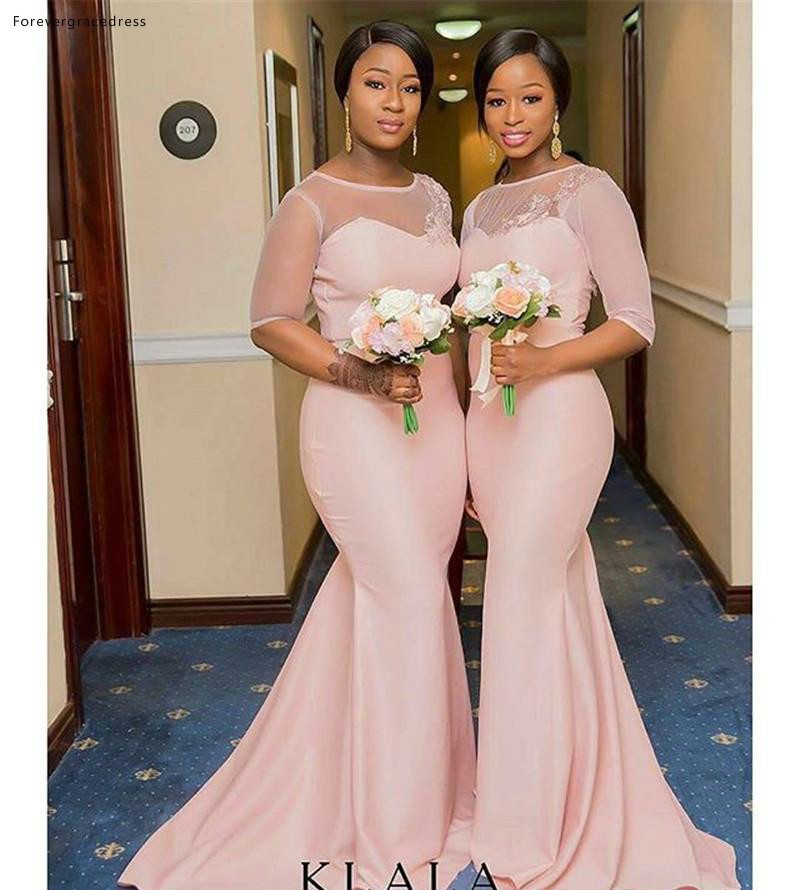 Black Girls   Bridesmaid     Dresses   2019 Long African Summer Country Garden Formal Wedding Party Guest Maid of Honor Gowns Plus Size