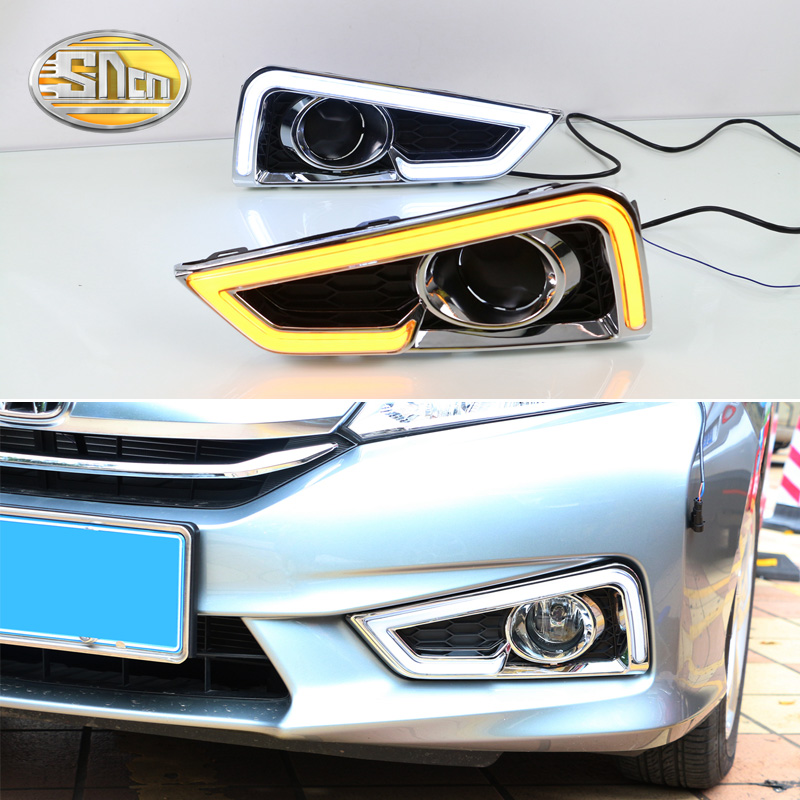 For Honda City Grace 2015 2016,Turn Yellow Signal Style Relay Waterproof ABS Car DRL 12V LED Daytime Running Light SNCN okeen 2pcs daytime running light for honda grace city 2014 2015 2016 drl white driving lamp amber turn signal light fog lamp 12v