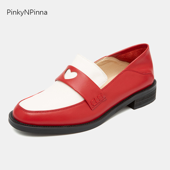 super cute young women genuine leather loafers red heart low heels slip on pigskin insole all year round preppy casual shoes