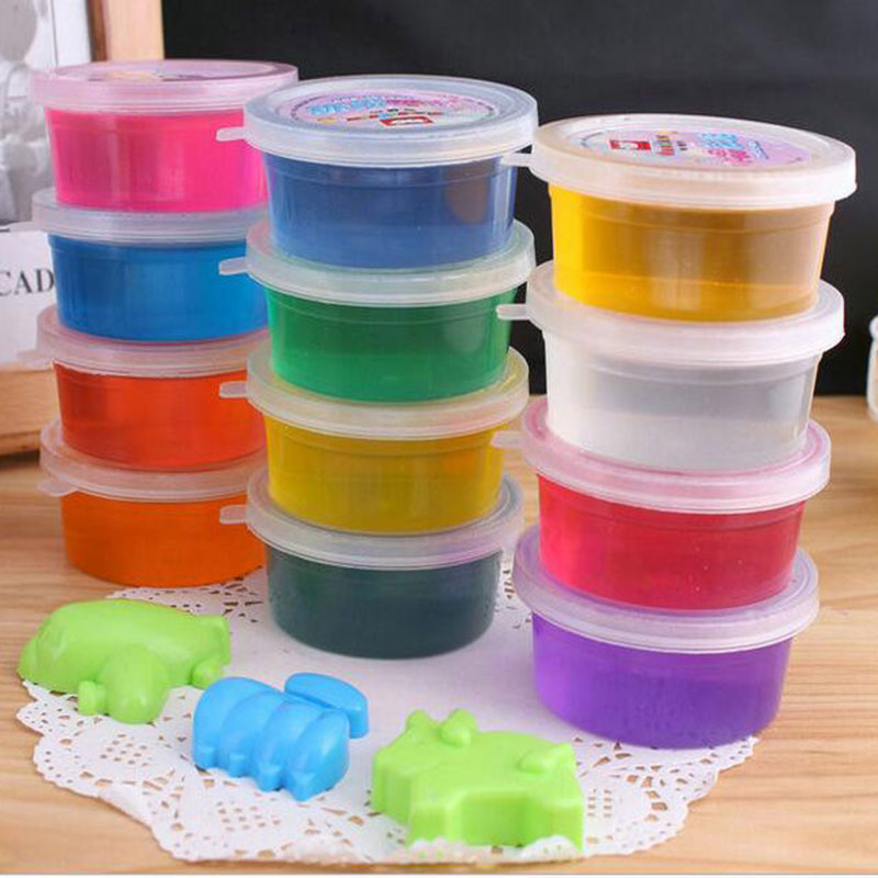 12 Color/set Kids Baby Fun Toys Crystal clay Fruit Magnetic Colored play dough Intelligent slime Plasticine Rubber Mud Blowing