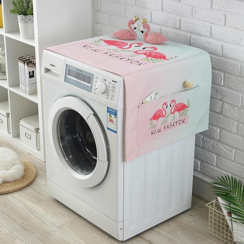 Flamingo Koelkast Doek Enkele Deur Koelkast Stofkap Pastorale Dubbele Open Handdoek Wasmachine Cover Handdoek 1 Pcs Fijn Vakmanschap