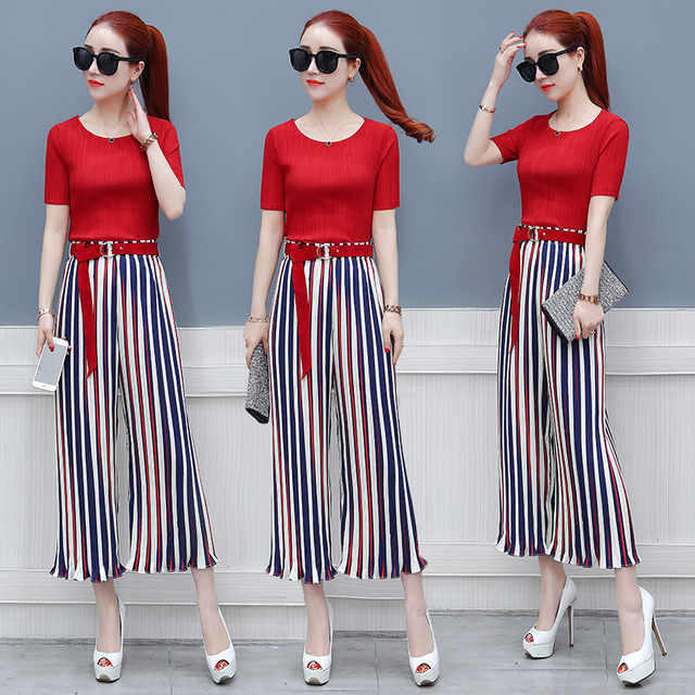 ad8289b1853 Striped Wide Leg Trousers Suit Set Casual Stripes Two Piece Set Top And  Pants Palazzo Tracksuit Women Conjunto Feminino