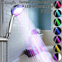 Xueqin Automatic LED Light Shower Head Handheld Bath Sprinkler For Bathroom Temperature Control 7 Colors Changing