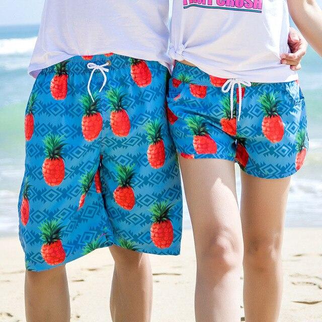 6af2c0ab202 2018 Fashion Summer Couple Beach Shorts Fruit Printed Hawaii Board Shorts  Men Women BoardShorts Swimwear