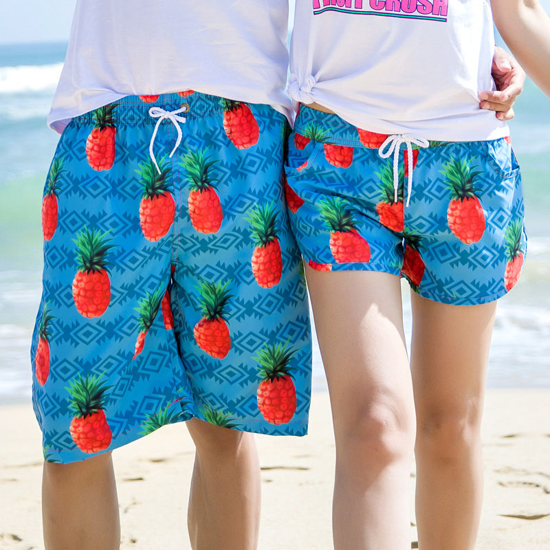 2018 Fashion Summer Couple Beach   Shorts   Fruit Printed Hawaii   Board     Shorts   Men/Women BoardShorts Swimwear Swimshorts Plus Size