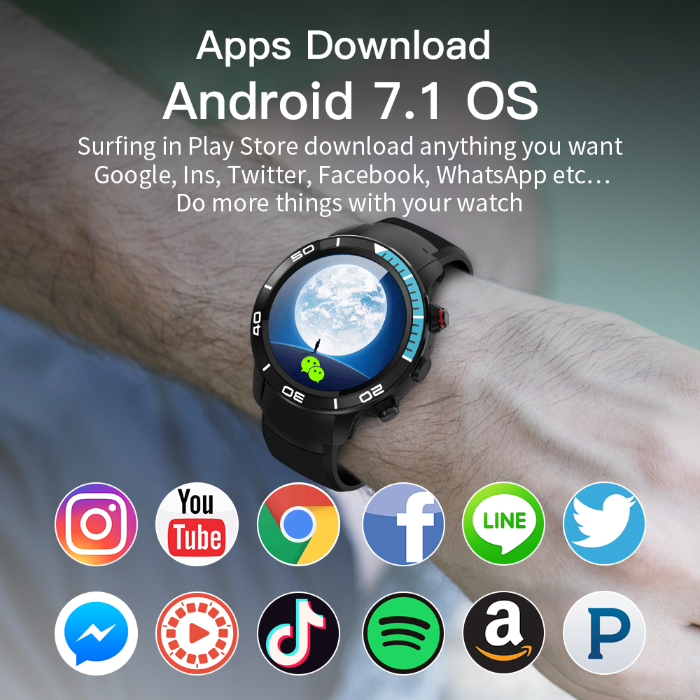US $117 31 54% OFF|FocuSmart New 4G Smart Watch Android 7 1 Support GPS  WIFI 5MP Camera Video Call Air Pressure IP68 waterproof Smartwatch For  Men-in
