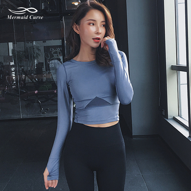 9d45a8791be33b Detail Feedback Questions about Mermaid Curve Women Long Sleeve Tight Yoga  T shirt Triangle Net Yarn Patchwork Gym Crop Tops Fitness Running Sport T  Shirts ...