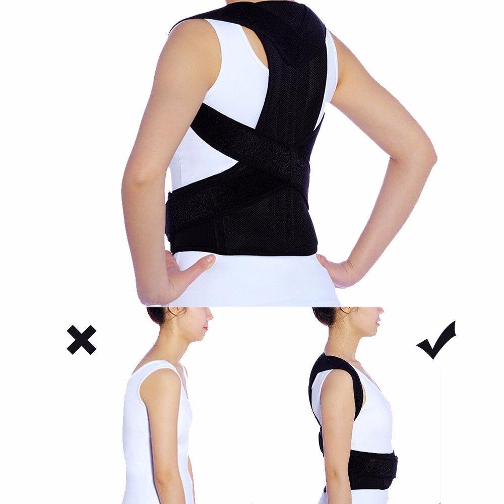 Adjustable Posture Corrector Support Belt  Brace Spine Lumbar Straightener Round Shoulder Prevents Slouching For Unisex Adults