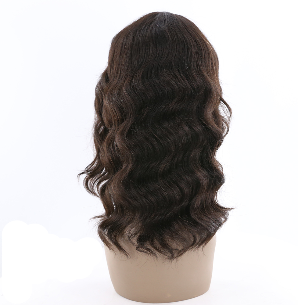 X-TRESS Human Hair Wigs With Bangs 16 Loose Wave Natural Color Hairpiece Brazilian Remy Human Hair Perruques Wigs For Women