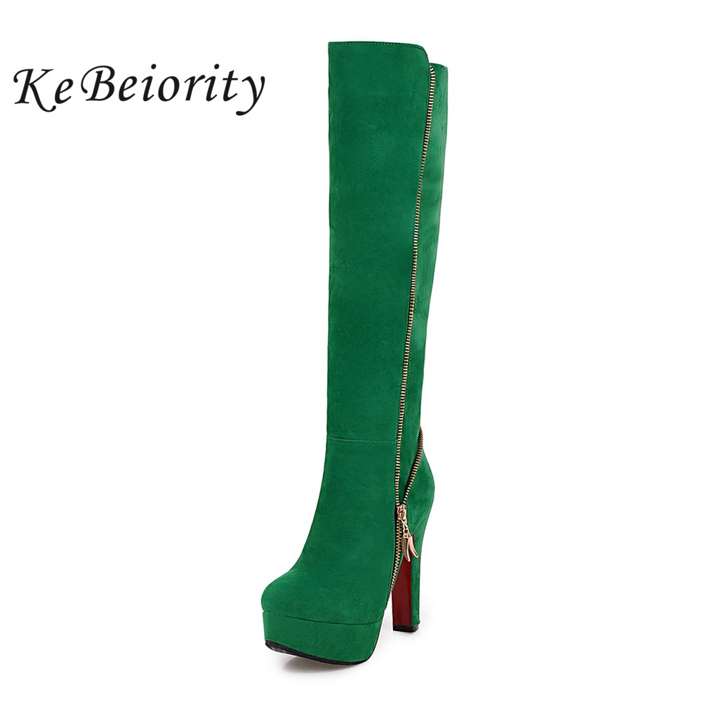 KEBEIORITY Platform Boots Women Autumn Shoes 2017 Red Green Knee High Boots High Heel Shoes Women Side Zipper Plus Size 33-47 2019 spring autumn sweet knee high 9cm super high heel women boots thin women shoes party shoes it s green apricot and red